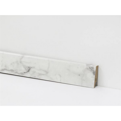 EQUIPPED - D2921 Carrara Marble / Profilsockelleiste 58mm / Hochglanz